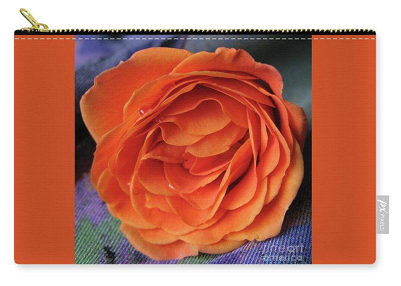 Rose Carry-all Pouch featuring the photograph Really Orange Rose by Ann Horn
