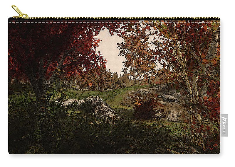 Path Into The Forest Carry-all Pouch featuring the painting Realm Of Nature by Andrea Mazzocchetti