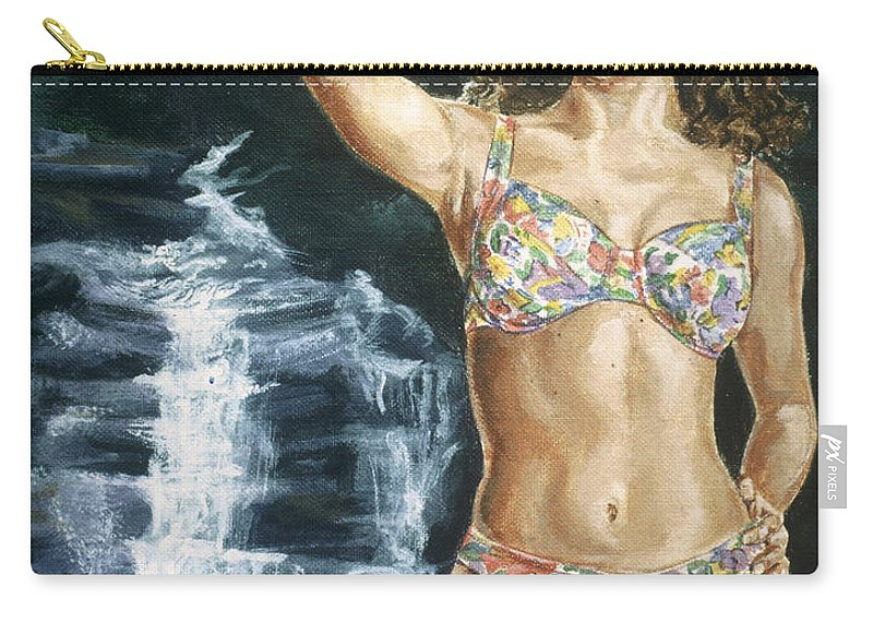 Rebecca Gayheart Carry-all Pouch featuring the painting Rebecca Gayheart by Bryan Bustard