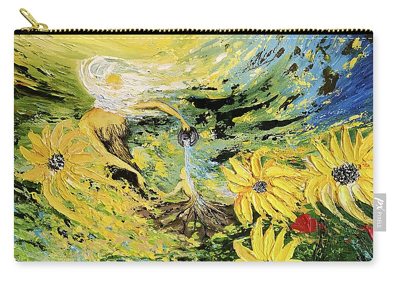 Yellow Carry-all Pouch featuring the painting Reborn by Ahmed Al-Saleh