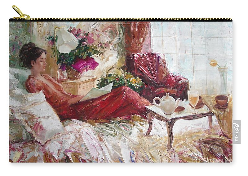 Art Carry-all Pouch featuring the painting Recent news by Sergey Ignatenko