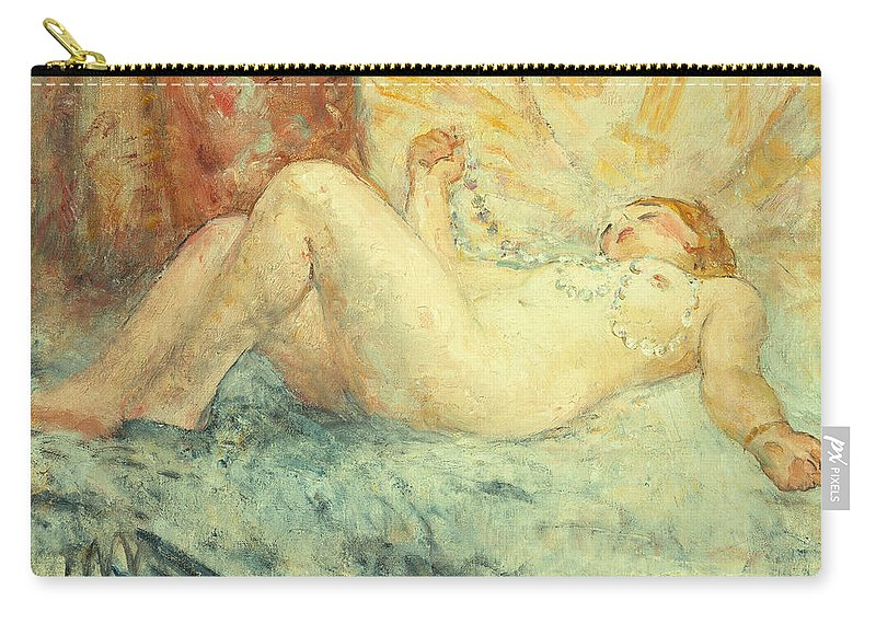 Nude Carry-all Pouch featuring the painting Reclining Nude by Henri Lebasque