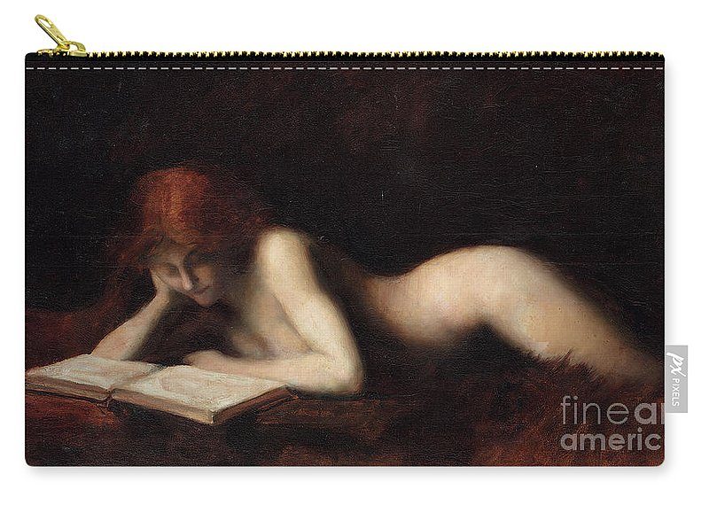 Woman Reading Carry-all Pouch featuring the painting Reclining Nude Woman Reading A Book by Jean-Jacques Henner