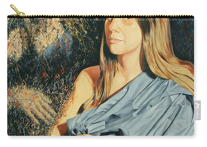 Surrealism Carry-all Pouch featuring the painting Reconstruction Of The Classical Madonna by Darwin Leon
