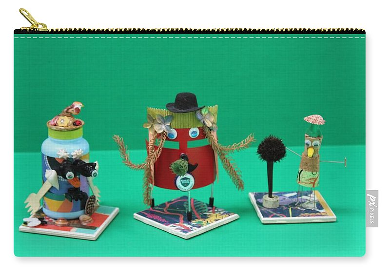 Recycled Art Carry-all Pouch featuring the sculpture Recycled Characters by Paul Meinerth