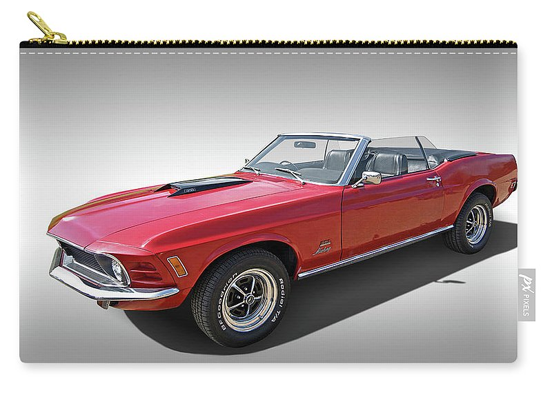 Ford Mustang Carry-all Pouch featuring the photograph Red 1970 Mach 1 Mustang 351 Cleveland by Gill Billington