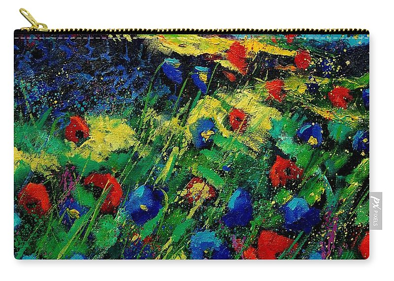 Flowers Carry-all Pouch featuring the painting Red And Blue Poppies 56 by Pol Ledent