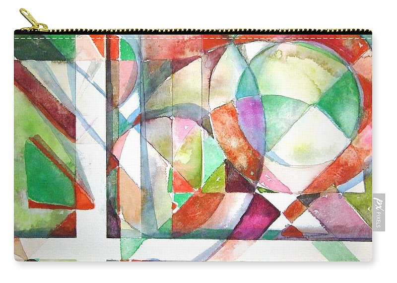Geometric Carry-all Pouch featuring the painting Red And Green by Mindy Newman