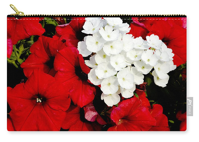 Flowers Carry-all Pouch featuring the photograph Red And White by Greg Fortier