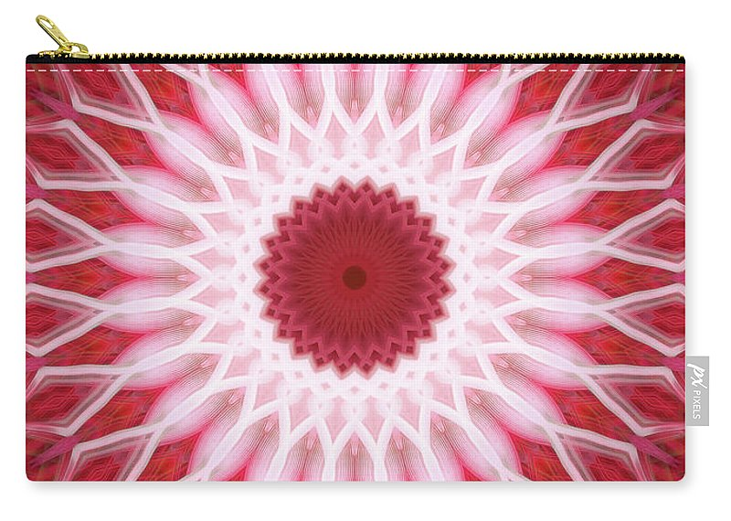Mandala Carry-all Pouch featuring the photograph Red And White Mandala by Jaroslaw Blaminsky
