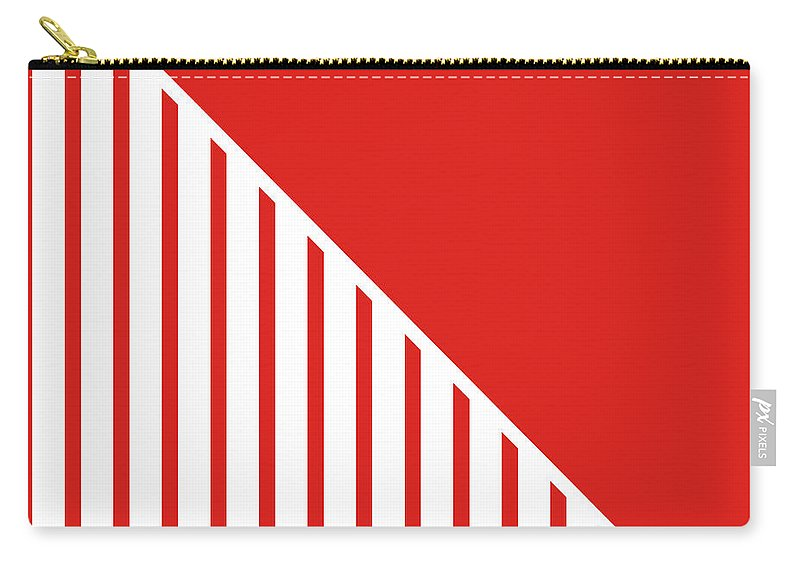 Red Carry-all Pouch featuring the digital art Red And White Triangles by Linda Woods