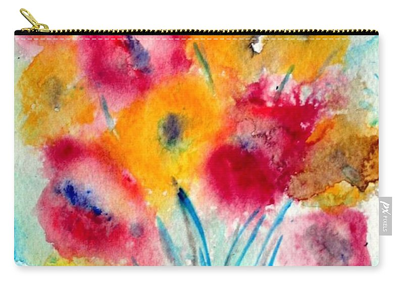 Flowers Carry-all Pouch featuring the painting Red And Yellow Flowers by Luiza Vizoli