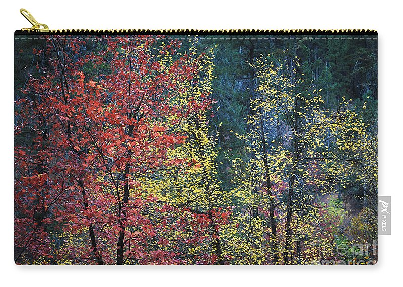 Landscape Carry-all Pouch featuring the photograph Red And Yellow Leaves Abstract Horizontal Number 1 by Heather Kirk