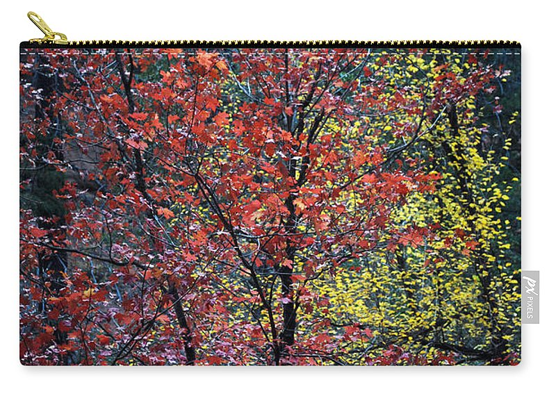 Landscape Carry-all Pouch featuring the photograph Red And Yellow Leaves Abstract Vertical Number 1 by Heather Kirk