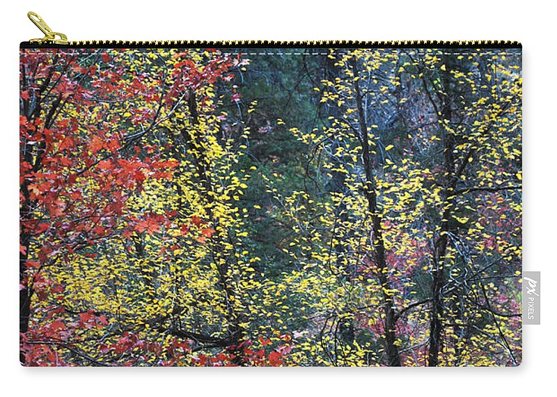 Landscape Carry-all Pouch featuring the photograph Red And Yellow Leaves Abstract Vertical Number 2 by Heather Kirk