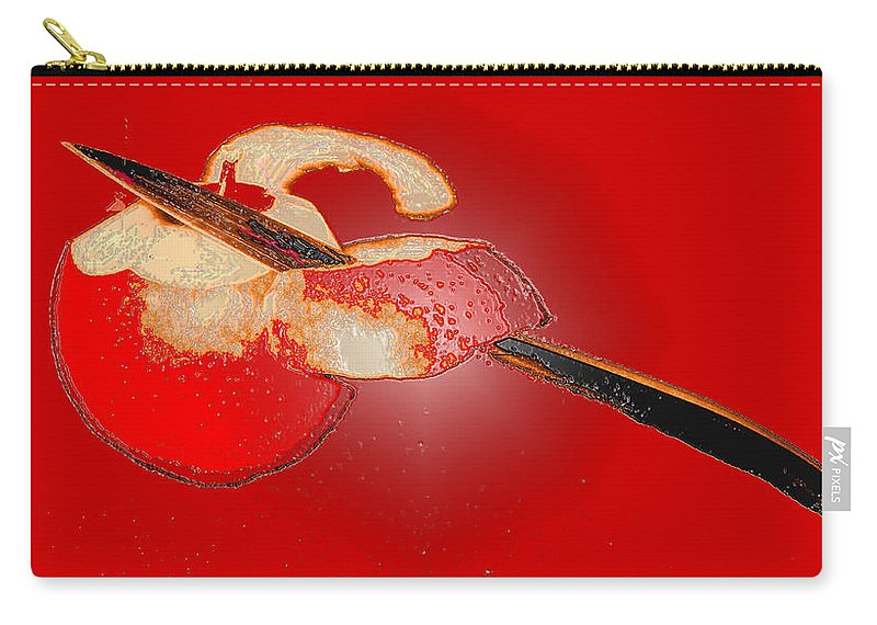 Apple Carry-all Pouch featuring the digital art Red Apple by Ian MacDonald