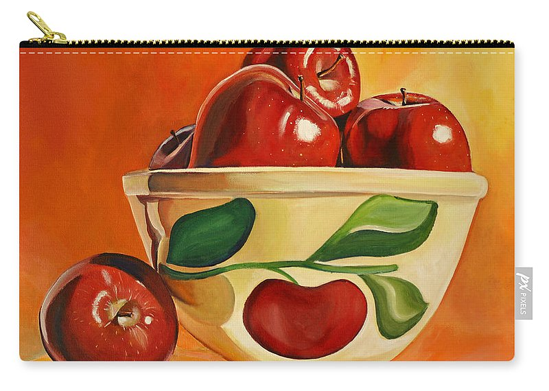 Apples Carry-all Pouch featuring the painting Red Apples In Vintage Watt Yellowware Bowl by Toni Grote