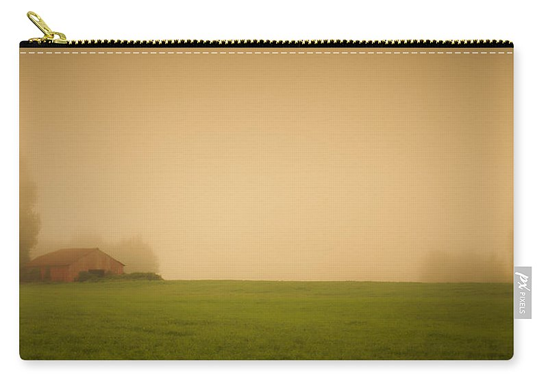 Barn Carry-all Pouch featuring the photograph Red Barn In The Fog by Don Schwartz