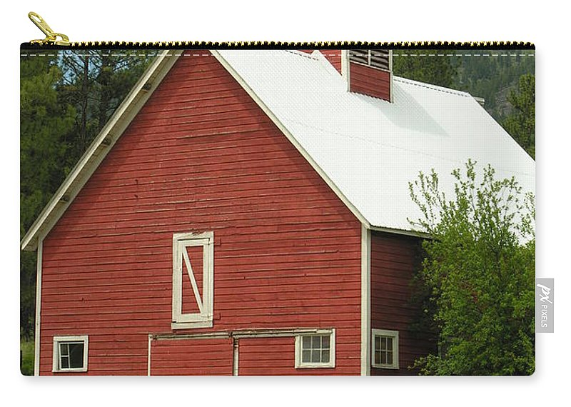 Red White Carry-all Pouch featuring the photograph Red Barn Montana by Diane Greco-Lesser