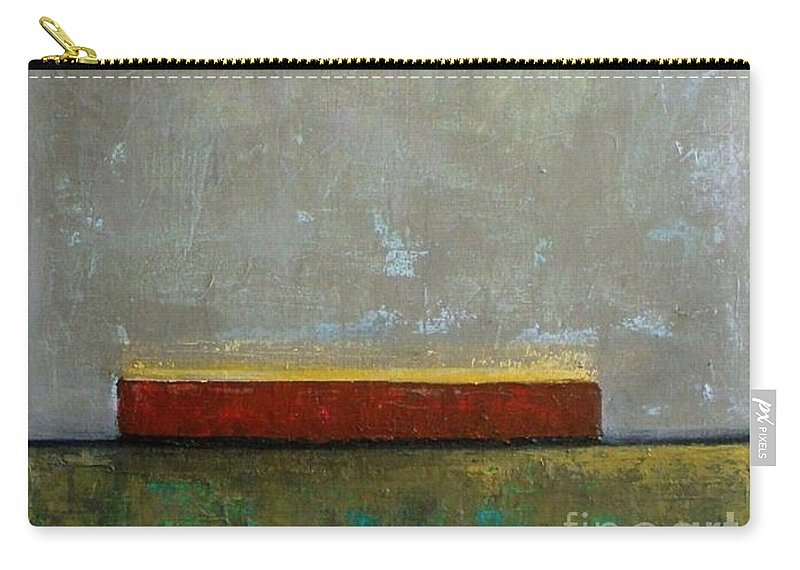 Contemporary Abstract Carry-all Pouch featuring the painting Red Barn by Vesna Antic