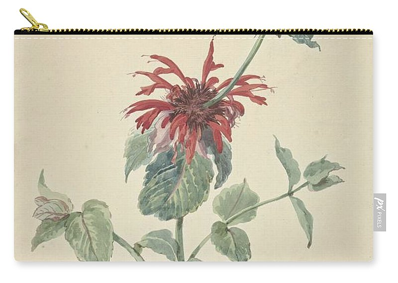 Flower Carry-all Pouch featuring the painting Red Bergamot In A Landscape, Aert Schouman Surroundings Of, C. 1750 - C. 1775 by Aert Schouman
