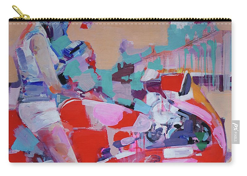 Girl Carry-all Pouch featuring the painting Red Bike by Dima K