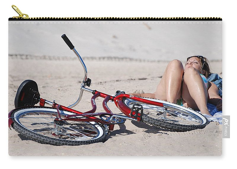 Red Carry-all Pouch featuring the photograph Red Bike On The Beach by Rob Hans