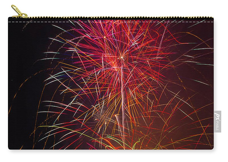 Dazzling Carry-all Pouch featuring the photograph Red Blazing Fireworks by Garry Gay
