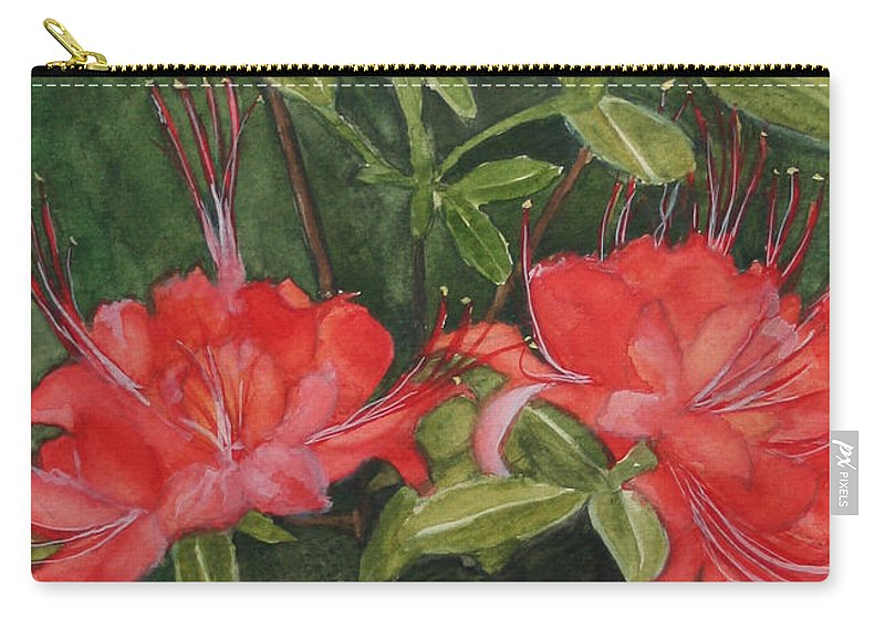 Flowers Carry-all Pouch featuring the painting Red Blooms On The Parkway by Jean Blackmer