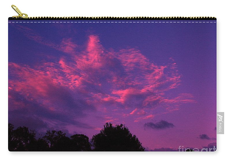 Night Scape Carry-all Pouch featuring the photograph Red Blue Sky by Greg Patzer