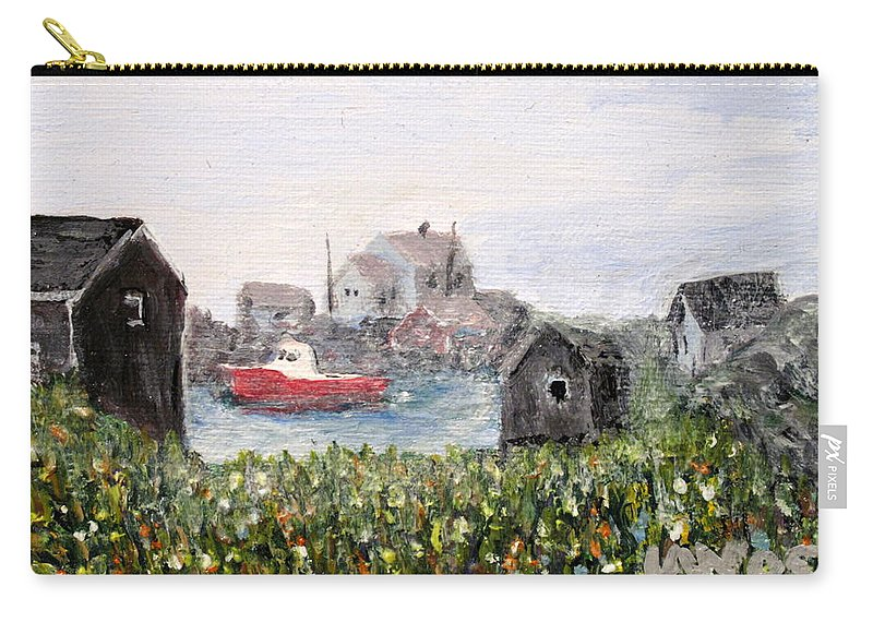 Red Boat Carry-all Pouch featuring the painting Red Boat In Peggys Cove Nova Scotia by Ian MacDonald