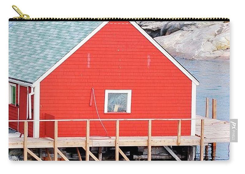 Red Carry-all Pouch featuring the photograph Red Boathouse by Kathleen Struckle