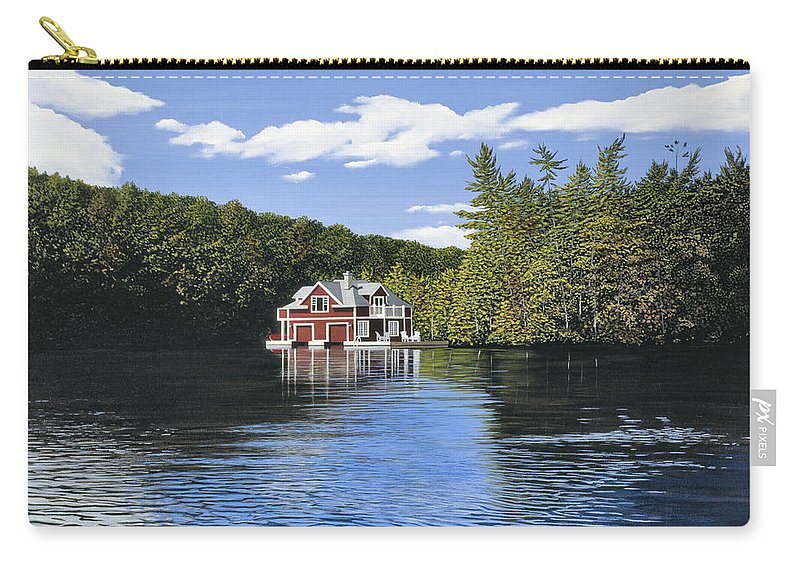 Landscapes Carry-all Pouch featuring the painting Red Boathouse by Kenneth M Kirsch