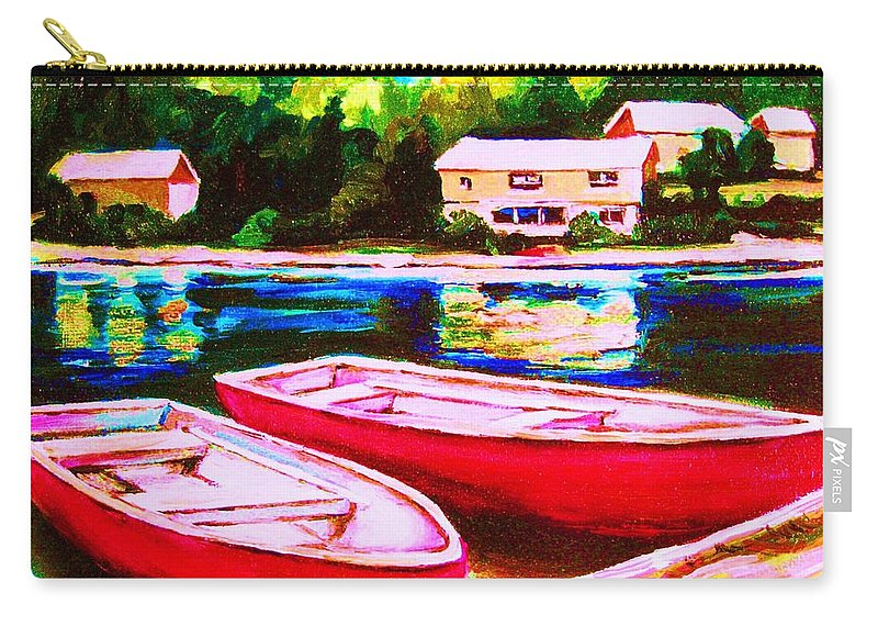 Red Boats Carry-all Pouch featuring the painting Red Boats At The Lake by Carole Spandau