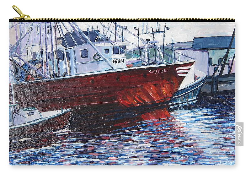 Boats Carry-all Pouch featuring the painting Red Boats by Richard Nowak