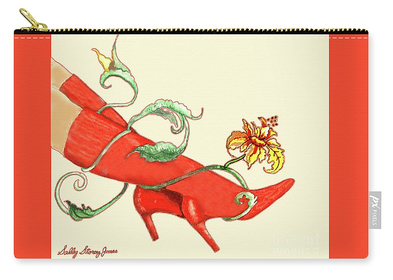 Red Carry-all Pouch featuring the painting Red Boots by Sally Storey Jones