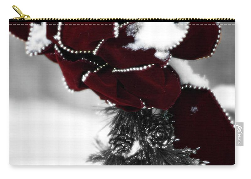 Red Carry-all Pouch featuring the photograph Red Bow In Snow by Teresa Mucha
