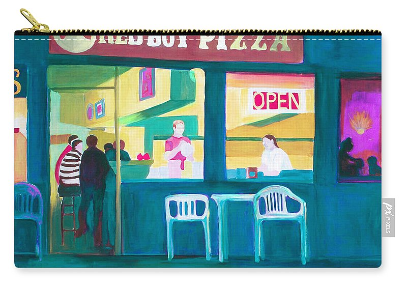 Restaurant Carry-all Pouch featuring the painting Red Boy Pizza by Joyce Slick