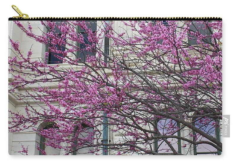 Red Buds Carry-all Pouch featuring the photograph Red Buds And San Antonio City Hall by Carol Groenen