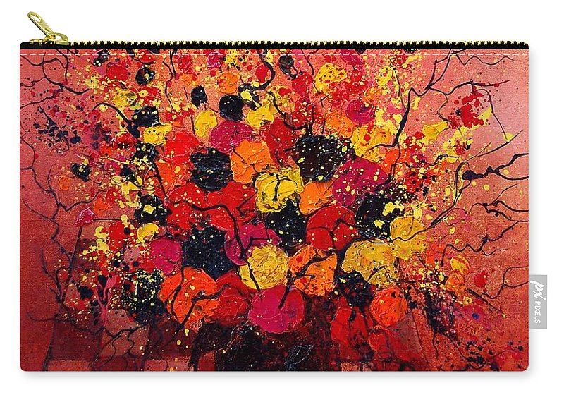 Flowers Carry-all Pouch featuring the painting Red Bunch by Pol Ledent