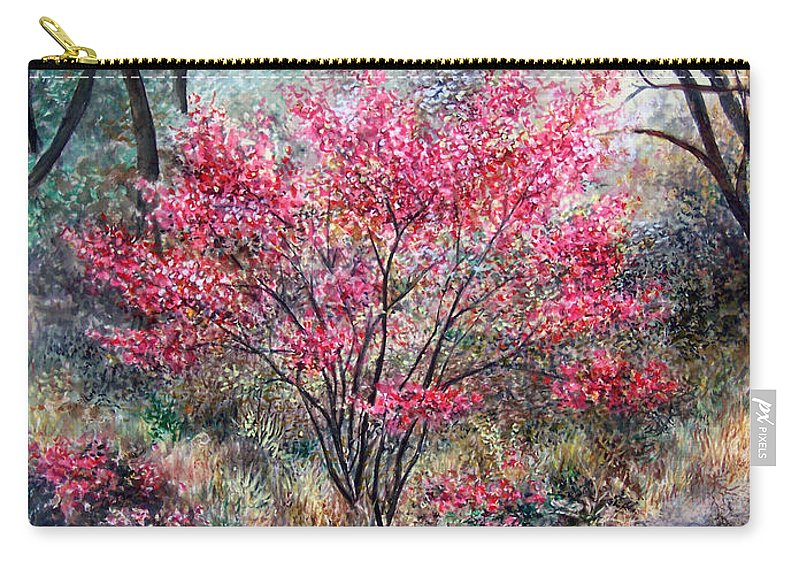 Landscape Carry-all Pouch featuring the painting Red Bush by Valerie Meotti