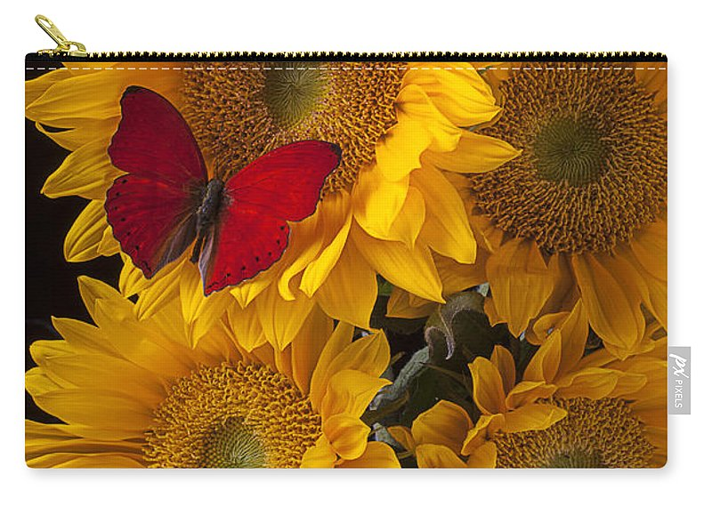 Four Carry-all Pouch featuring the photograph Red Butterfly With Four Sunflowers by Garry Gay