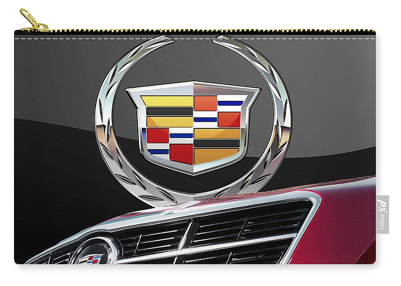 'auto Badges' By Serge Averbukh Carry-all Pouch featuring the photograph Red Cadillac C T S - Front Grill Ornament and 3D Badge on Black by Serge Averbukh