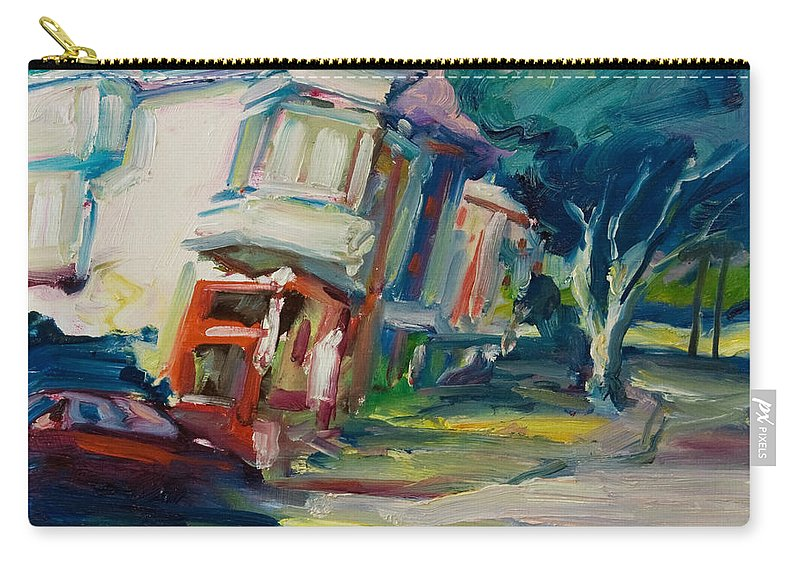 Trees Carry-all Pouch featuring the painting Red Cafe by Rick Nederlof