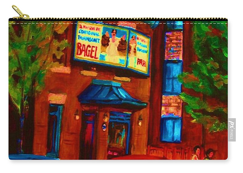 Fairmount Bagel Carry-all Pouch featuring the painting Red Car Blue Sky by Carole Spandau