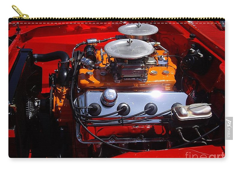 Red Car Engine Carry-all Pouch featuring the photograph Red Car Engine by Mariola Bitner
