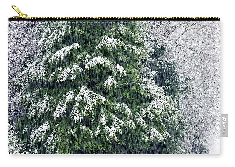 Astoria Carry-all Pouch featuring the photograph Red Cedar And Snow by Robert Potts