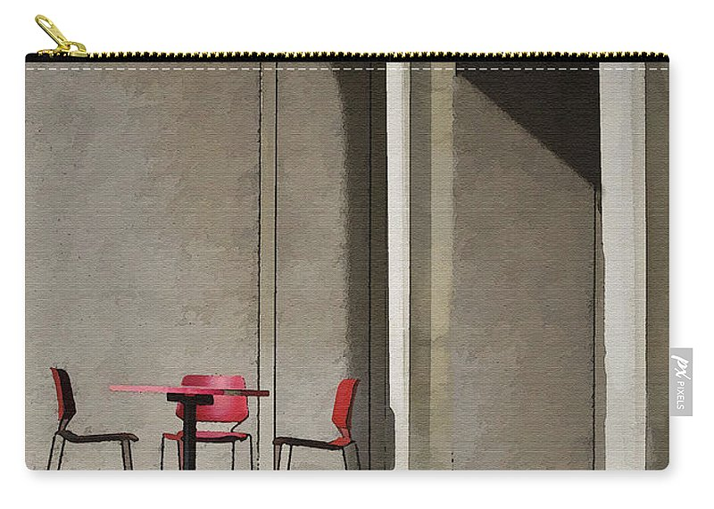 Architecture Carry-all Pouch featuring the photograph Red Chairs by Sharon Foster