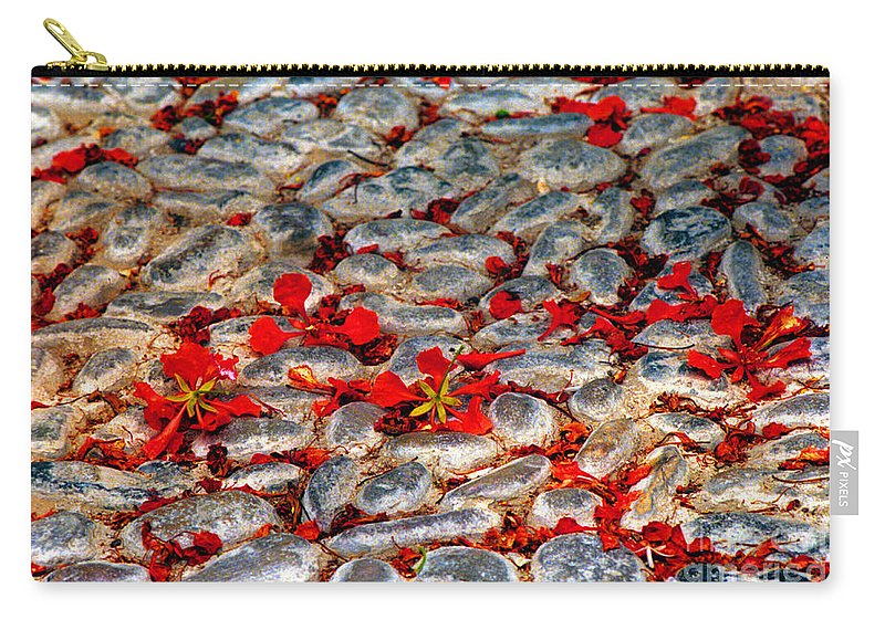 Red Carry-all Pouch featuring the photograph Red Cobblestone Road by James BO Insogna