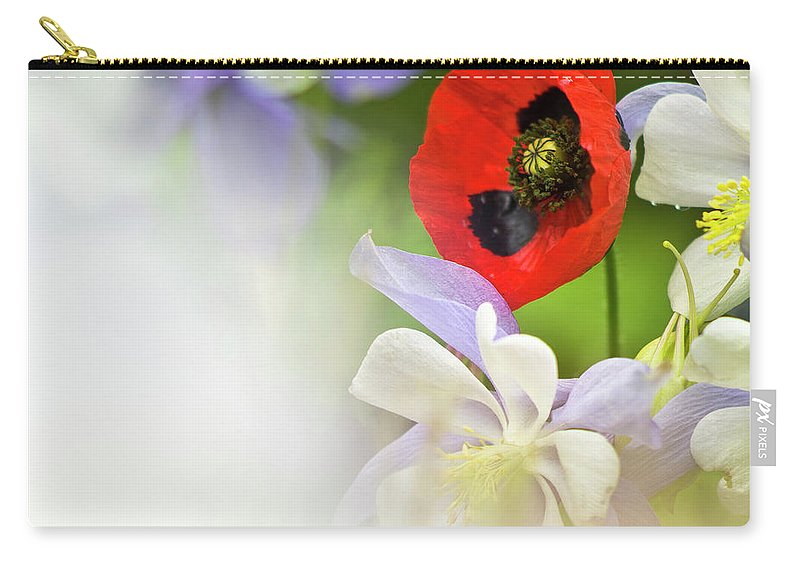Poppy Carry-all Pouch featuring the photograph Red Corn Poppy by Heiko Koehrer-Wagner